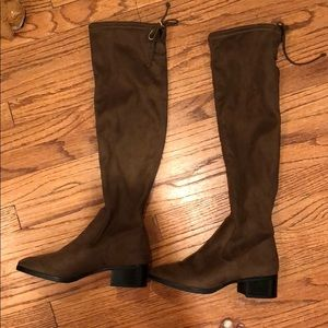 ZARA over the knee fitted heeled boots US 7 EUR 37